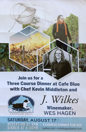 cafe blue wine dinner
